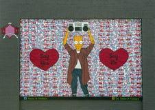 Säg säger ja ingen väggväggmålning av Preston Pannek, djupa Ellum, Texas Arkivbild