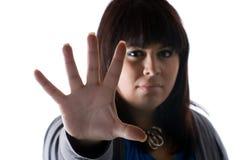 säga stoppkvinnan Royaltyfri Fotografi