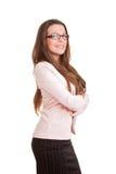 Säker affärskvinna eller lärare fotografering för bildbyråer