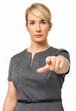 Säker affärskvinna Pointing At You Arkivbilder