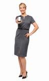 Säker affärskvinna Showing Smart Phone Arkivfoto
