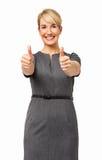 Säker affärskvinna Showing Thumbs Up Royaltyfri Bild