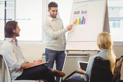 Säker affärsman som ger presentation som kollegor som ser den arkivbild