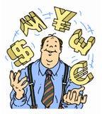 Säker affärsman som jonglerar valutasymboler Royaltyfri Bild