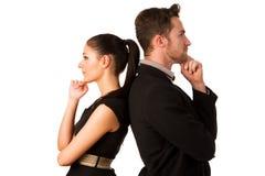 Säker affärsparbenägenhet på de med baksidor, håll Royaltyfri Foto
