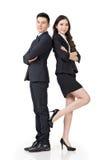Säker asiatisk affärsman och kvinna royaltyfri fotografi