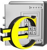 Säker ask med eurotecknet Arkivbild