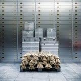 Säker bank och askar med guld 3d Royaltyfria Foton
