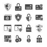 Säker betalningsymbolsuppsättning Inklusive symbolerna som kreditering CAD, kassaskåpet, skydd, ssl, kryptering och mer Royaltyfri Foto