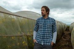 Säker bonde som poserar i rapsfrölantbrukfält arkivfoton