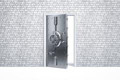Säker dörr för hem- säkerhet på tegelstenväggen Royaltyfri Fotografi
