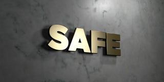Säker - guld- tecken som monteras på den glansiga marmorväggen - 3D framförde den fria materielillustrationen för royalty vektor illustrationer