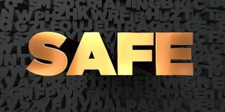 Säker - guld- text på svart bakgrund - 3D framförde den fria materielbilden för royalty vektor illustrationer