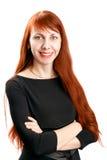 Säker härlig affärsrödhårig mankvinna arkivbilder