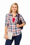 Säker högskolestudent Holding Digital Tablet Arkivbild