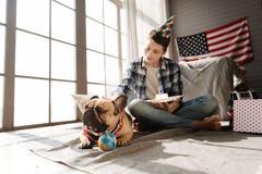 Säker hund som bär det festliga pappers- locket royaltyfria foton