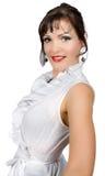 säker isolerad white för blusaffärskvinna Arkivbild
