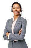 Säker kundtjänstrepresentant Wearing Headset Fotografering för Bildbyråer