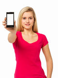 Säker kvinnavisningSmart telefon Royaltyfri Fotografi