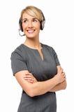 Säker kvinnlig kundtjänstrepresentant Royaltyfria Foton