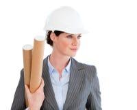 säker kvinnligstående för arkitekt Fotografering för Bildbyråer