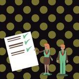 Säker man och kvinna i affärsdräkten som står, gör en gest och framlägger datarapporten på färgbräde idérikt stock illustrationer