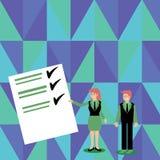 Säker man och kvinna i affärsdräkten som står, gör en gest och framlägger datarapporten på färgbräde idérikt royaltyfri illustrationer