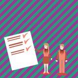 Säker man och kvinna i affärsdräkten som står, gör en gest och framlägger datarapporten på färgbräde idérikt vektor illustrationer