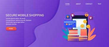 Säker mobil shopping, online-betalning, den säkra transaktionen, mobil e-kommers, online-detaljhandel shoppar, rengöringsdukbaner vektor illustrationer