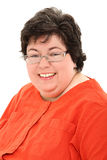 Säker och lycklig Obese kvinnaaffärsstående royaltyfria bilder