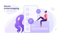 Säker online-shopping, skyddade betalningar som använder kreditkorten, lurar royaltyfri illustrationer