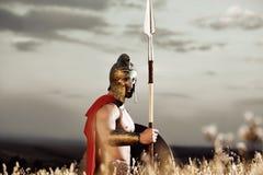 Säker soldat som bär som spartanskt Royaltyfria Bilder