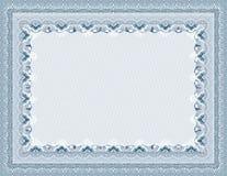 säker vektor för blankt certifikat Royaltyfria Bilder