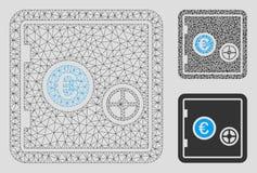 Säker vektor Mesh Carcass Model för euro och mosaisk symbol för triangel vektor illustrationer
