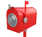 Säkerhet av brevlådan. Stålbrevlåda med combinatio stock illustrationer