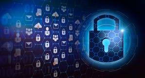 Säkerhet för cyber för sammanlänkning för nyckel- för låssäkerhetssystem abstrakt värld för teknologi digital på hi techmörker -  royaltyfri illustrationer