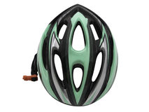 Säkerhet för hjälm för sportgräsplancykel för cyklistisolering fotografering för bildbyråer