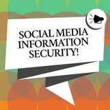 Säkerhet för information om massmedia för ordhandstiltext social Affärsidéen för säkerhet i online-multimediaservice vek 3D vektor illustrationer