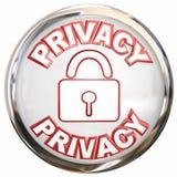 Säkerhet för lås för personlig information om symbol för avskildhet rund Arkivbild