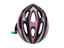 Säkerhet för rosa färgcykelhjälm för cyklistisolering royaltyfri foto