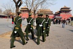 Säkerhet i Forbiddenet City Beijing Kina Arkivbilder