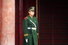 Säkerhet i Forbiddenet City Beijing Kina Fotografering för Bildbyråer