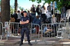 Säkerhet och fans på filmfestivalen i Cannes, Frankrike Arkivfoton