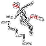 Säkerhet på arbetsbegreppet Collage för etikettsmolnbegrepp Royaltyfria Bilder