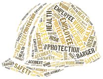 Säkerhet på arbetsbegreppet Collage för etikettsmolnbegrepp Arkivbild