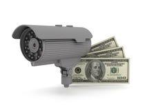 Säkerhet - videopp bevakningkamera och dollarräkningar Arkivbilder