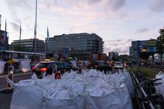 Säkerhetsåtgärder och polisstyrning under Kieleren Woche 2017 Arkivfoto