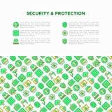 Säkerhets- och skyddsbegrepp med linjen symboler arkivfoton