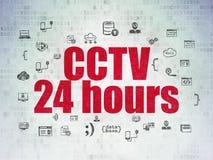 Säkerhetsbegrepp: CCTV 24 timmar på Digital papper Arkivbild