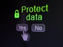 Säkerhetsbegrepp: Den stängda hänglåssymbolen och skyddar data på skärmen för den digitala datoren Arkivfoto